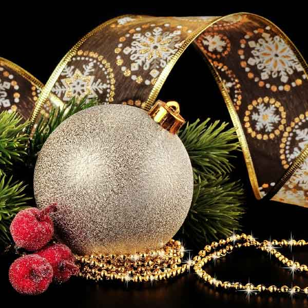 holiday ornaments and greenery
