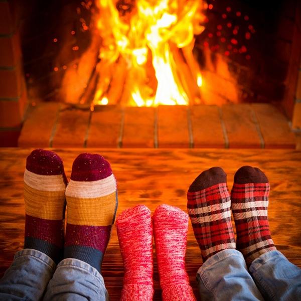 Warming feet by a nice fire