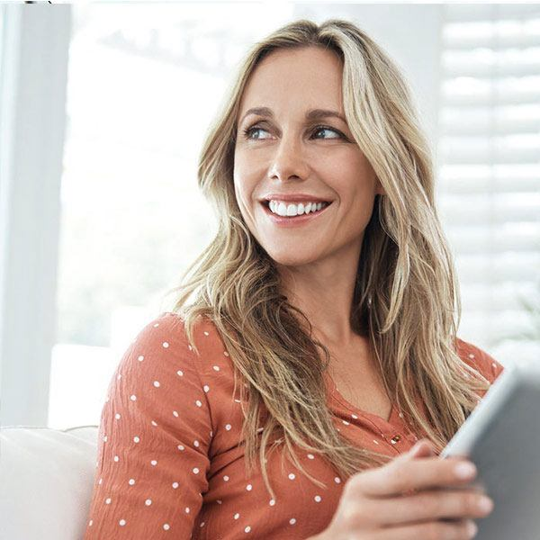 Woman managing investments