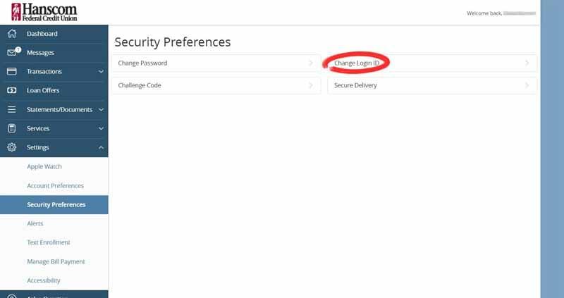 change login id page hanscom fcu online access