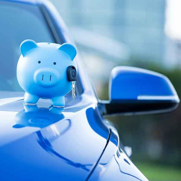 blue piggy bank on hood of car