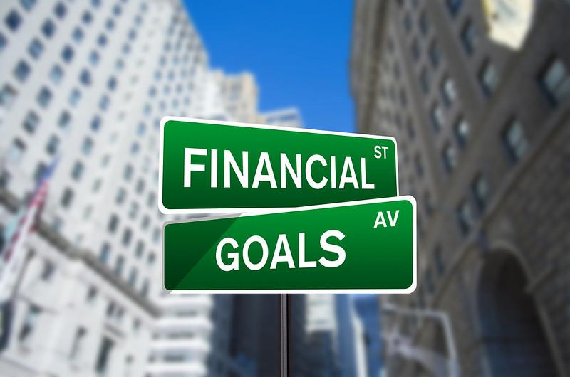 financial goals street signs