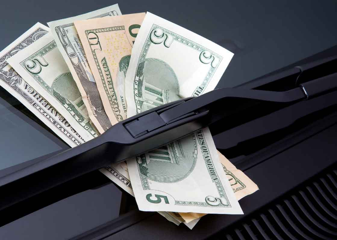 money from an auto title loan under windshield wipers