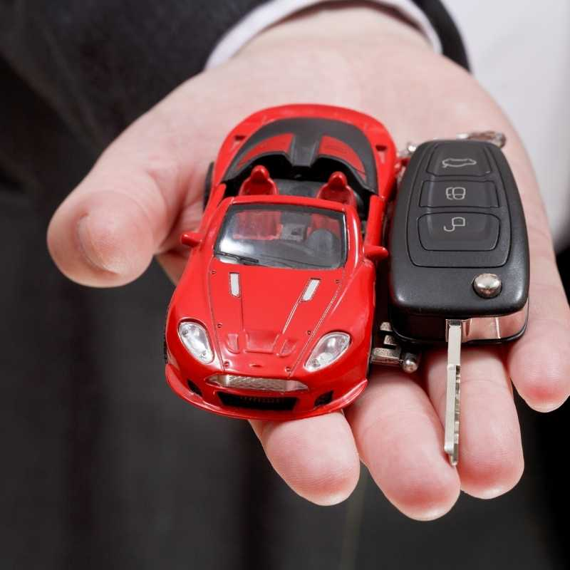 red sportscar with key