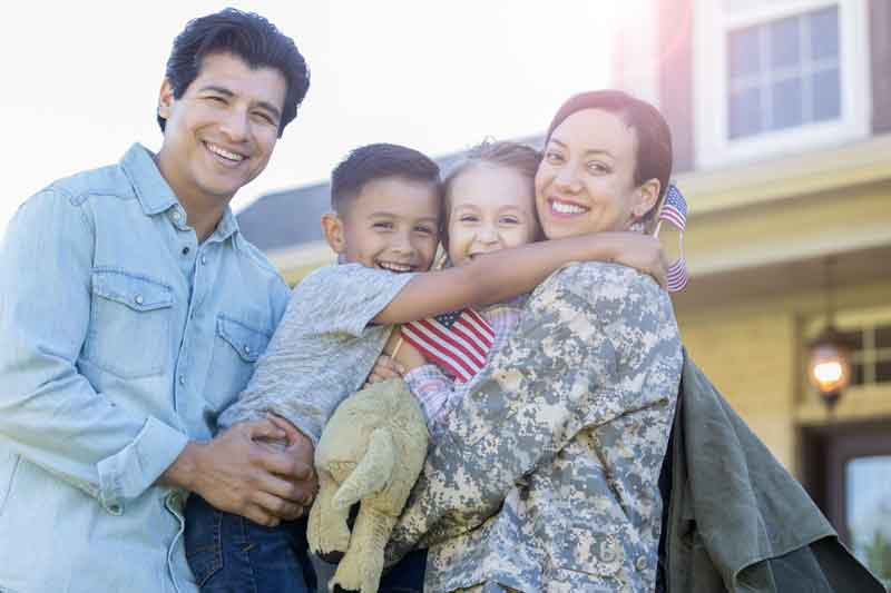 military mom with family